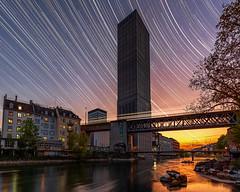 Swissmill Tower star- and train trails