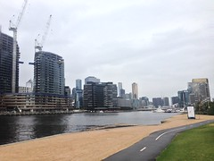 Looking east along the Yarra River from Yarra's Edge, South Wharf