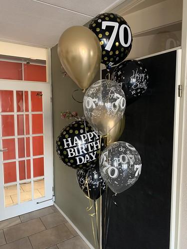 Ballonboeket Zwart Goud Verjaardag 70 Jaar