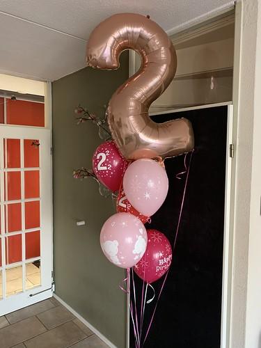 Ballonboeket Roze Verjaardag 2 Jaar
