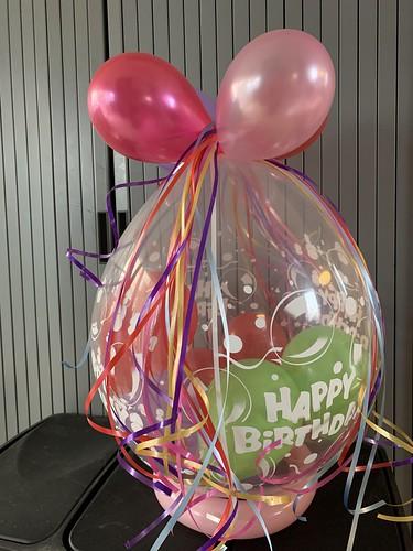 Kadoballon Roze Groen Verjaardag