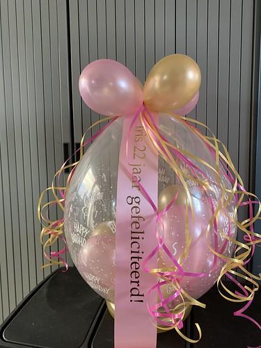 Kadoballon Roze Goud Verjaardag met Bedrukt Lint