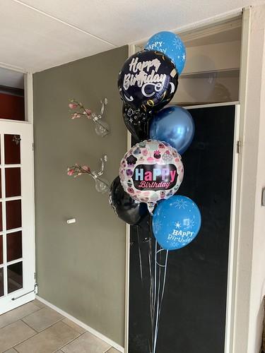 Ballonboeket Zwart Blauw Verjaardag