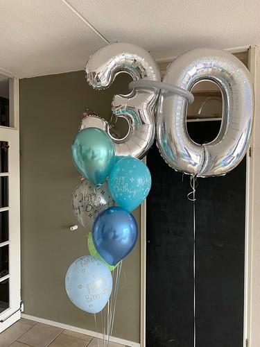 Ballonboeket Zilver Groen Blauw Verjaardag 30 Jaar