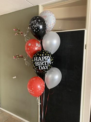 Ballonboeket Zwart Rood Zilver Verjaardag