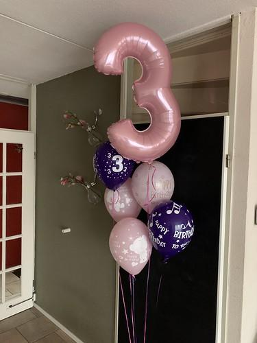 Ballonboeket Roze Paars Verjaardag 3 Jaar