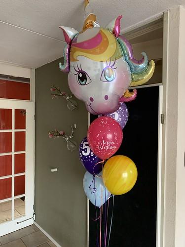 Ballonboeket Unicorn Verjaardag 5 Jaar