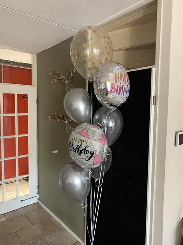 Ballonboeket Zilver Verjaardag