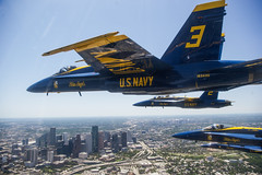 The Blue Angels fly over Houston, Texas, May 6, 2020.