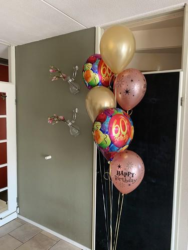 Ballonboeket Verjaardag 60 Jaar Goud Rose Goud Bordeaux
