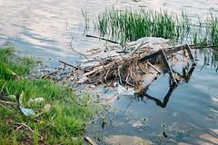 Riesige Menge an Müll in einem Fluss
