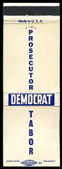 Glenn J. Tabor for Prosecutor, Democrat in Porter County, Indiana - Matchcover