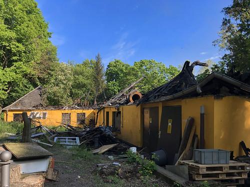 "The fire site where ""Pavillon im Volkspark Friedrichshain"" once stood."