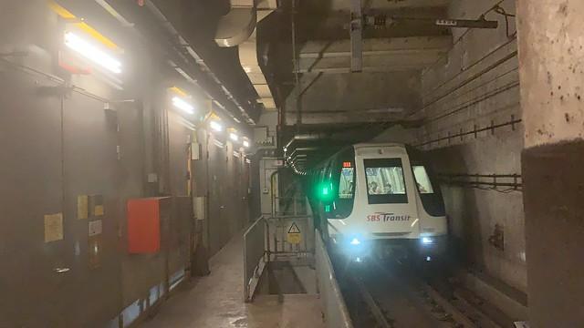 SBS Transit NEL - Alstom Metropolis C751A (7057/7058) arriving NE16/STC Sengkang for NE1/CC29 HarbourFront