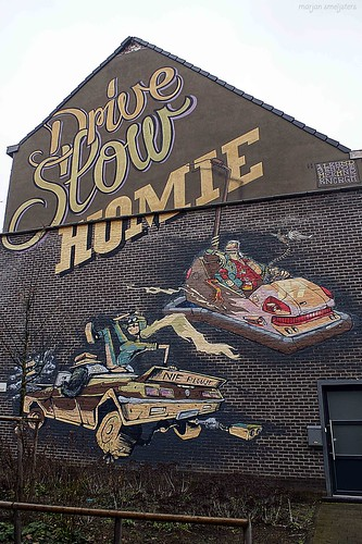 Drive Slow Homie (Mr. Leenknecht, Mr. Mong & Derm), Street Art Ghent, Belgium