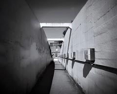 Monochrome footbridge