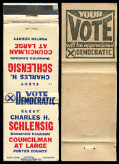 Charles H. Schlensig, Councilman at Large of Porter County, Indiana - Matchcover
