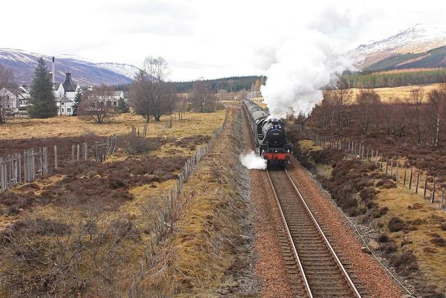 GB1X2-20 Black 5 No.44871 departs Dalwhinnie, Inverness-shire
