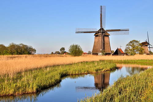 Windmill reflected in the pond, Rustenburg, North Holland, the Netherlands