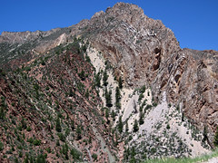 Deseret Limestone over Hades Pass Formation redbeds (Mississippian over Neoproterozoic; Sheep Creek Canyon, Uinta Mountains, Utah, USA) 10
