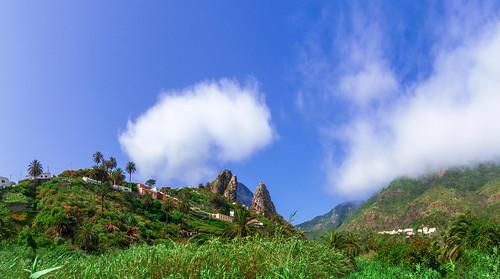 Clouds above a village in La Gomera