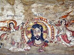 Tête du Christ avec deux Anges,  musée copte du Caire (Égypte)