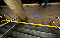 Social Distancing Guide Markings on Subway Platforms