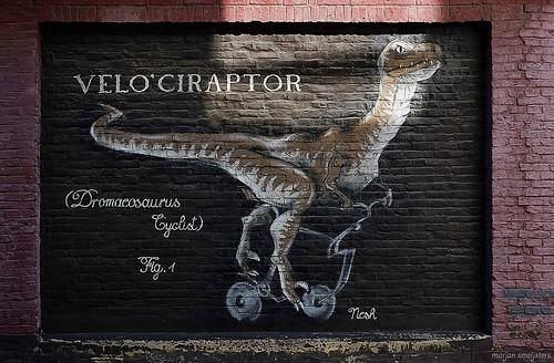 Velo'ciraptor (Nesh), Street Art, Ghent, Belgium
