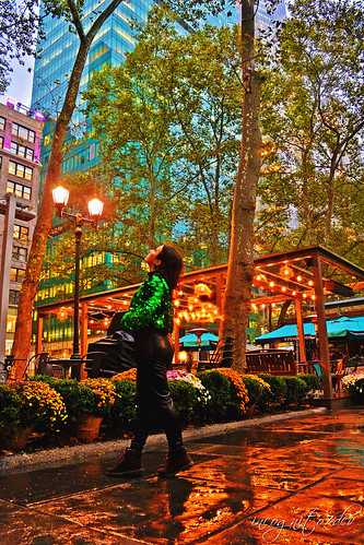In Bryant Park Beautiful Rainy Day Salesforce & Bank of America Towers Midtown Manhattan New York City NY P00527 DSC_1981