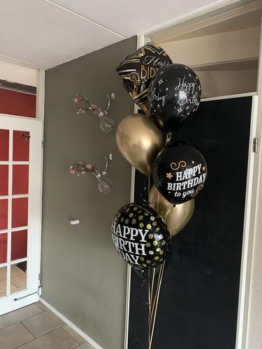 Ballonboeket Zwart Goud Verjaardag