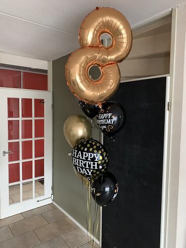 Ballonboeket Zwart Goud Verjaardag 8 Jaar