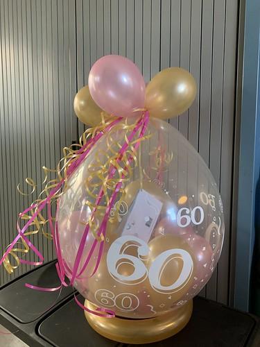 Kadoballon Roze Goud Verjaardag 60 Jaar