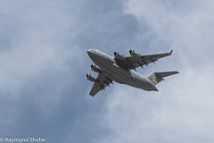 C-17 flyover of the country club on it's way back to March AFB. Sunlakes CC, Banning CA