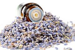 Eine Flasche ätherische Öle auf Lavendelblüten. Nahaufnahme