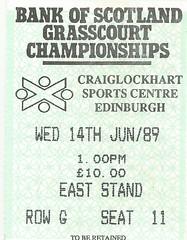 Ticket to Craiglockhart Tennis Championships, June 1989