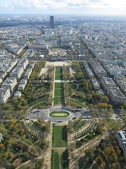 A southeastern view from the Eiffel Tower