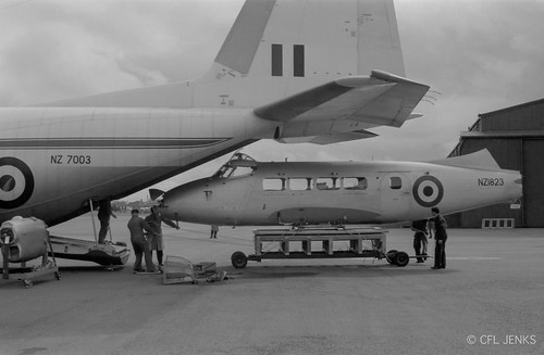 27 August 1966, RNZAF Devon NZ1823 being loaded into Hercules NZ7003 at Wigram after being gifted to the RMAF