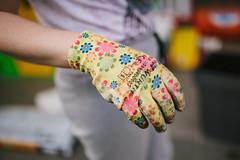 Protective garden gloves closeup.