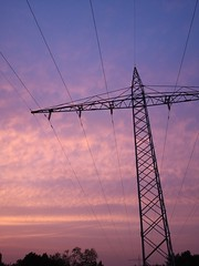 Powerline with purpe sky background