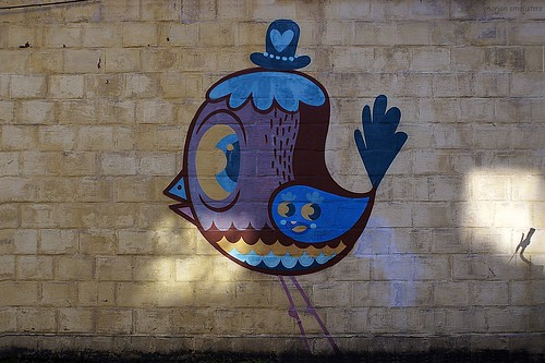 'Bird with Bowler' (Bué the Warrior) Street Art Ghent, Belgium