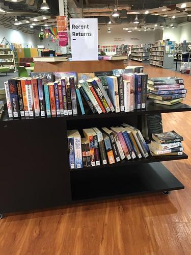 Full recent returns shelves, Linwood Library