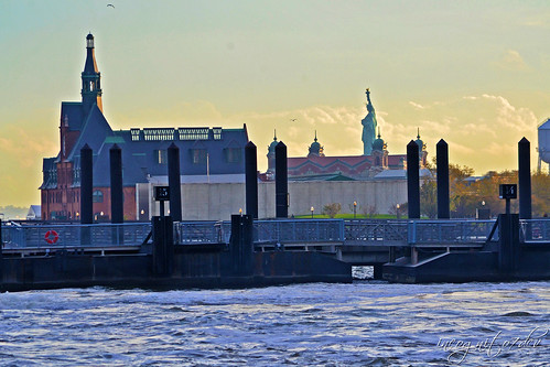 Statue of Liberty, Ellis Island & NJ Central Railroad View from Exchange Place New Jersey New York City NY Jersey City NJ P00532 DSC_2813