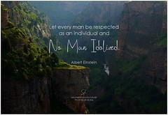 Albert Einstein Let every man be respected as an individual and no man idolized