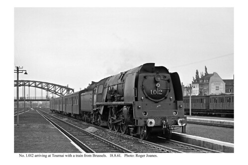 Tournai. 1.012 & train arriving from Brussels. 18.8.61