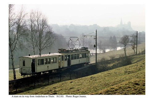 Thuin line tram in the countryside. 10.3.85