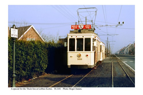 Lobbes Ecoles. Tram for the Thuin line. 10.3.85