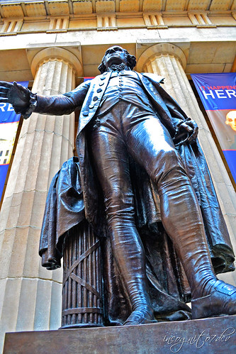 George Washington Statue Sculpture Federal Hall Wall Street Lower Manhattan New York City NY P00533 DSC_1281