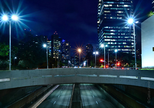 Sao Paulo, Brazil - upper view of Tunel Janio Quadros at night with empty lanes
