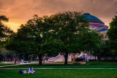 Students Enjoying a Late Afternoon on the Quad.