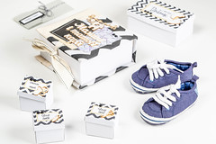 Small children's sneakers with boxes for the baby's first things